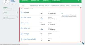 Cписок вариантов перевода денег