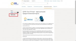 Заказ карты Виза Virtual