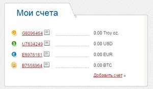 Счета пользователя