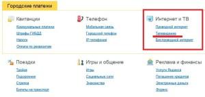 Оплата кабельного ТВ через Яндекс Деньги