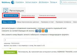 Тип аккаунта WebMoney