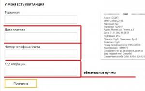 Заполнение формуляра для проверки платежа