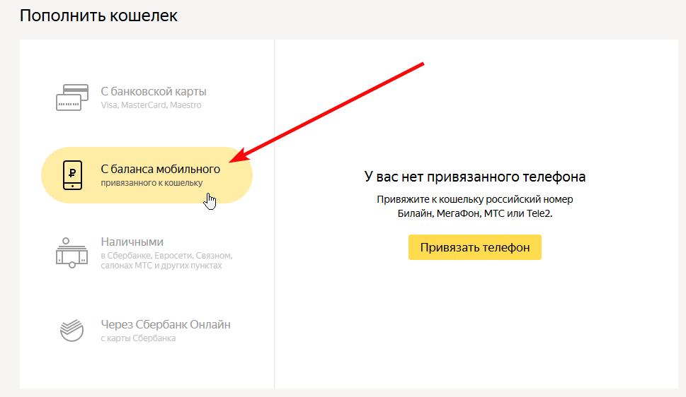 Пополнить Яндекс Деньги через мобильный